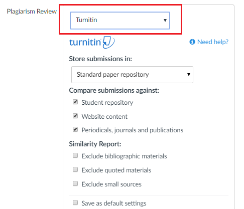 Select TurnItIn from the Plagiarism Review dropdown menu.