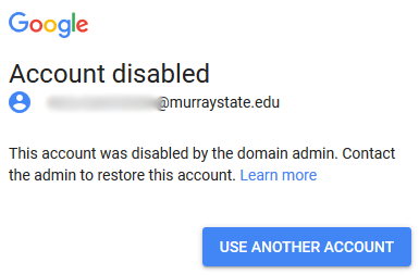Google's Account Disabled Error Message