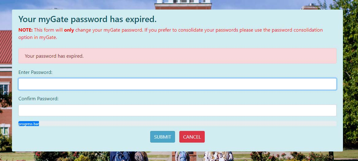 Your myGate password has expired.