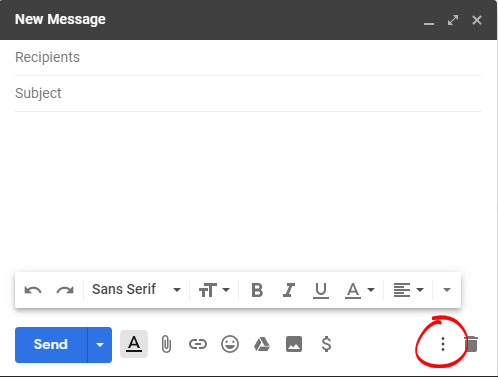click on the three-dot more options icon in the lower right corner of the new message window.